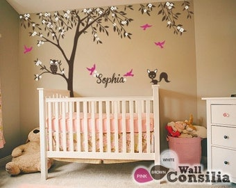 "Baby Nursery Wall Decals - Tree Wall Decal - Tree Decal - Owl and Fox Decal - Large: approx 121"" x 95"" - KC025"