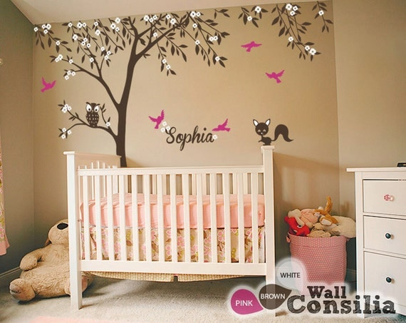 Baby nursery wall decals tree wall decal tree decal owl for Baby room tree mural