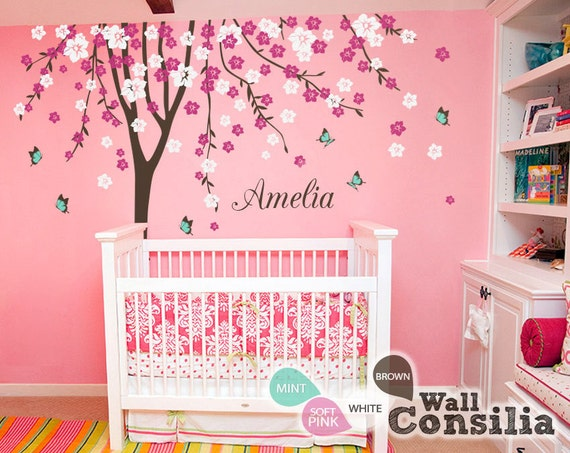 baby kinderzimmer wandtattoo cherry blossom baum wall decal. Black Bedroom Furniture Sets. Home Design Ideas