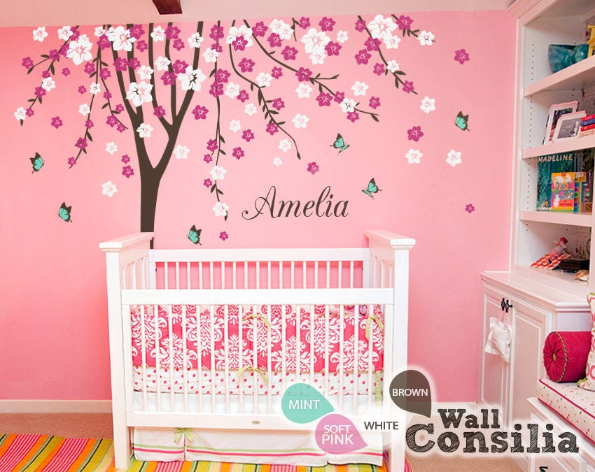 Baby nursery wall decals cherry blossom tree wall decal tree for Baby nursery tree mural