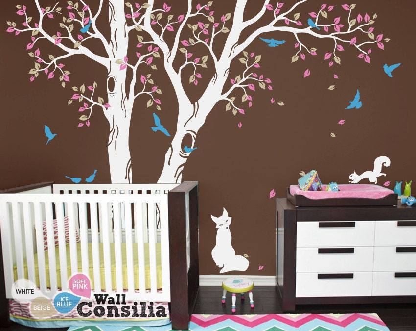 Baby nursery wall decals tree wall decal tree decal wall for Baby room tree mural