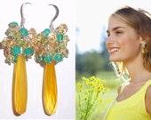 Dangle Earrings, Colourful Cluster Earrings, Gemstone wire wrapped earrings, Citrine, Onyx, Peridot  Sterling Silver Earrings