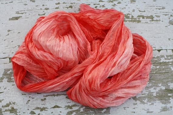 Simply Grapefruit -  Valentine's gift for her, coral, light pink, white silk scarf.