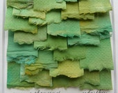 Torn Paper Collage of Hand Painted Mulberry Paper in Shades of Green