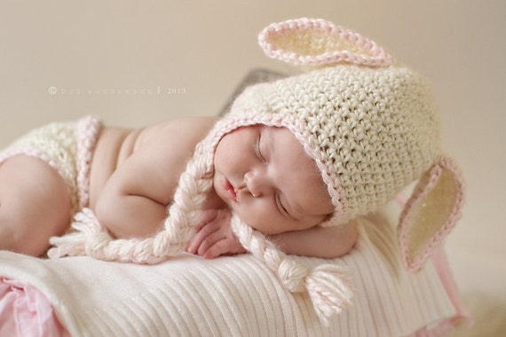 Precious Lamb Hat with pink trim- Made to Order- Any size