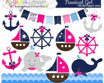 INSTANT DOWNLOAD, baby girl sailing clip art, whale clipart, sail boat, nautical vector, commercial use for invitations, announcements