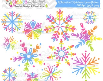 INSTANT DOWNLOAD, snowflake clipart, whimsical rainbow snowflakes, for commercial use, personal use