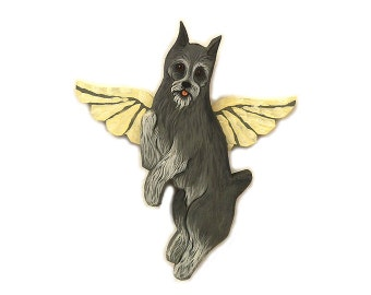 Angel Dog Grey Schnauzer Dog Angel Wooden Wall Hanging