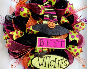 LARGE!!! Best Witches Halloween Deco Mesh Wreath - Witch Wreath - Halloween Decor - Witch Leg and Witch Hat Wreath - Fall Deco Mesh