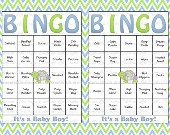60 Baby Shower Bingo Cards - Printable Party Baby Boy - Instant Download - Green Baby Blue Chevron Turtle Baby Shower Gift Bingo B026