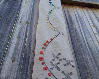 Child's fabric growth chart retro jax and ball, embroidery with rainbow buttons
