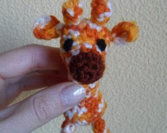 Toy giraffe crochet  animal small orange multicoloured