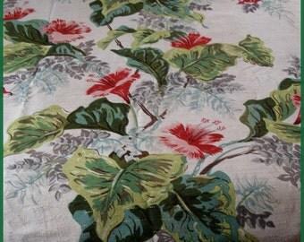 Vintage 50's Tropical Barkcloth Fabric Panel Hibiscus And Bird