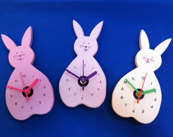 Bunny Clock - Rabbit Clock - Hand painted & personalised