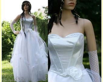 Fairy Tale-style Alternative Tulle Ball Wedding Gown with Corseted Bodice - Silver Cinderella