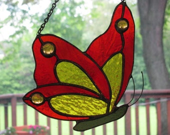 Stained Glass Butterfly - Orange and Yellow