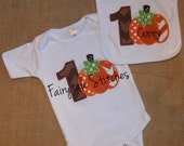 Fall Pumpkin Applique Bodysuit and Bib Combo  with Chevron One and Embroidered Name - Fairytalestitchesbou