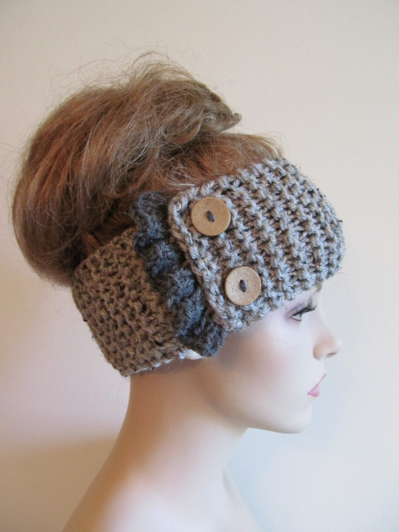 Knit Headband Pattern With Button : Items similar to Grey Knit Headbands Earwarmers Turban Buttons Chunky Knit Gr...