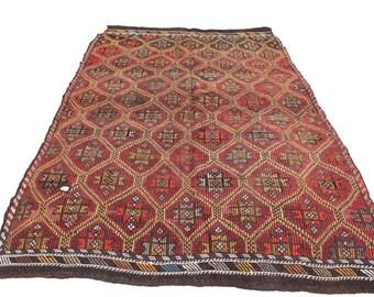 "Vintage Handwoven Wool Rug - Handmade Turkish Decorative Kilim Rug - 67""x104'' - Bohemian Home Decor - Antique Kilim Rug - Riot of Colors"