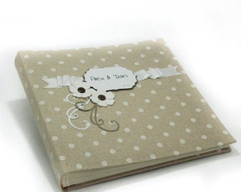 """Large polka dot album for pictures with linen cover, size 12"""" x12"""" 28 sht with box"""