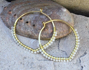 Bronze Hoops, Clearance, Petal Hoop Earrings, Seed Bead Earrings, Pearl Color Hoops, Wire Wrapped Earring, Lightweight Earring, Wire Jewelry