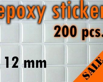 200pcs. 12mm Square Epoxy Stickers