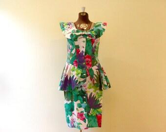 Vintage Dress / Medium/Large / 1980's Floral Dress