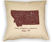 Montana State Pillow Cover Personalized with Your Family Name and Hometown
