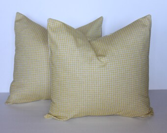 CLEARANCE - ONE - 20 x 20 Citrine and Denton Check Pillow Cover - Premier Prints