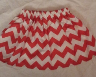 Trendy Girls Red/White Chevron Skirt 4/5T  Ready to Ship