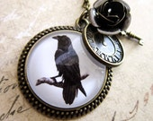 Steampunk Raven Necklace - Bronze rose Gothic Crow Cabochon Photo Jewelry Pendant Halloween - DubiousDesign