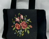 Vintage Black Velvet Floral Embroidered Purse