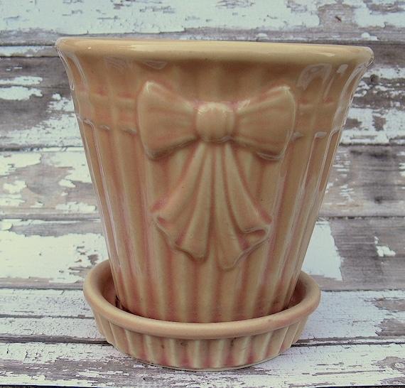 Vintage Mccoy Pink Flower Pot Planter