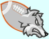 Wolf or Husky Huskies mascot on Football Applique Embroidery Designs 4 sizes,    hoops 4x4 5x7 6x10 INSTANT DOWNLOAD