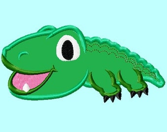 Cute Baby Alligator  APPLIQUE Embroidery Design 4 sizes  INSTANT DOWNLOAD