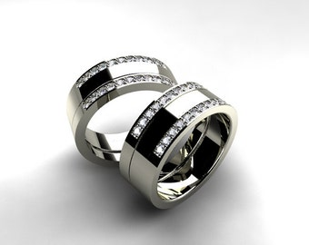 Times Square 4 Engagement & Wedding Ring Set in Platinum ...