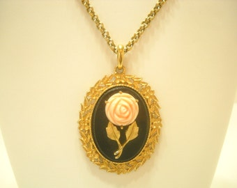 SERENA ROSE Reversible MIRRORED Pendant Necklace, 1973 Avon (9430)