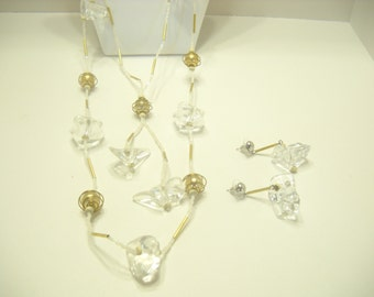 Vintage ICE CUBES NECKLACE and Pierced Earrings
