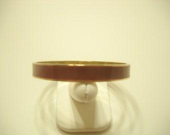 Vintage Enamel Bangle Bracelet (1371) Gold Tone Metal