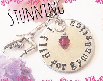 Hand stamped personalized gymnast necklace. Gymnastics, Tumbling, gymnastic team gift, gymnast birthday