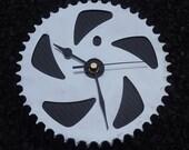 BMX gear wall clock cycling wall workshop clock - Silver & black carbon fiber guys mans bike gift
