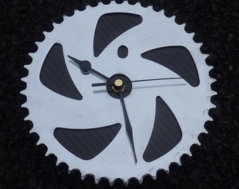 BMX gear wall clock cycling wall workshop clock - Silver & black carbon fiber guys mans bike gift