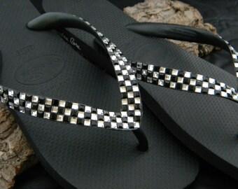 Custom Crystal Flip Flops Black White Geometric Square Checkerboard Retro Race Day Flag Havaianas or Cariris Wedge heel w/ Swarovski Shoes