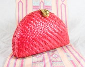 Vintage Hot Pink / Red Wicker Purse with Gold Chain & Hardware SUPA' FAB!