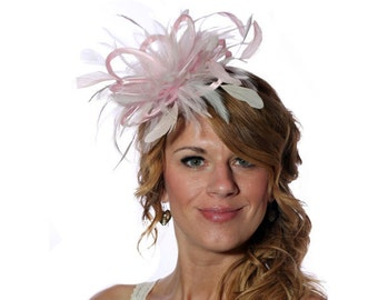 Baby Pink and Ivory Feather Fascinator Hat - wedding, ladies day - choose any colour feathers and satin