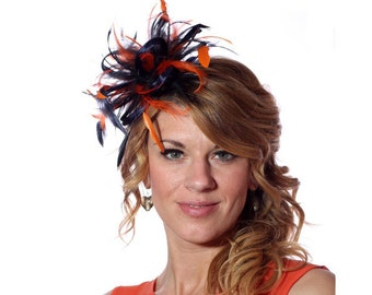 Navy Blue and Orange Feather Fascinator Hat - wedding, ladies day - choose any colour feathers and satin