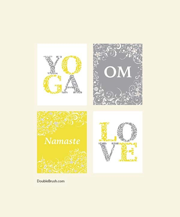 Yoga home decor yoga inspired prints set of 4 love yoga om for Yoga decorations home