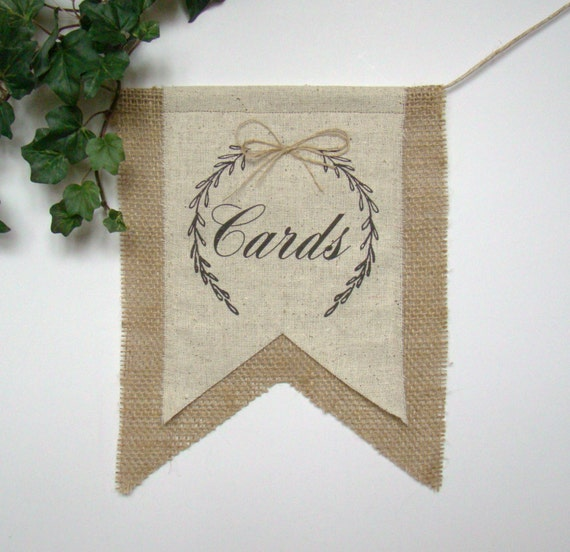 Burlap Wedding Banner, Gift Table Banner, Wedding Bunting, Wedding Sign, Gift Card Bunting, Banner, Bunting, Burlap Wedding, Rustic Wedding