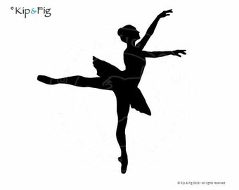 Ballet Silhouette - Pose One - applique PDF template - applique pattern design