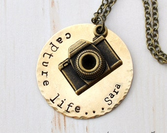 Personalized name camera necklace, Capture Life, long necklace, photographer, monogram, hand stamped,custom necklace antique Bronze, initial